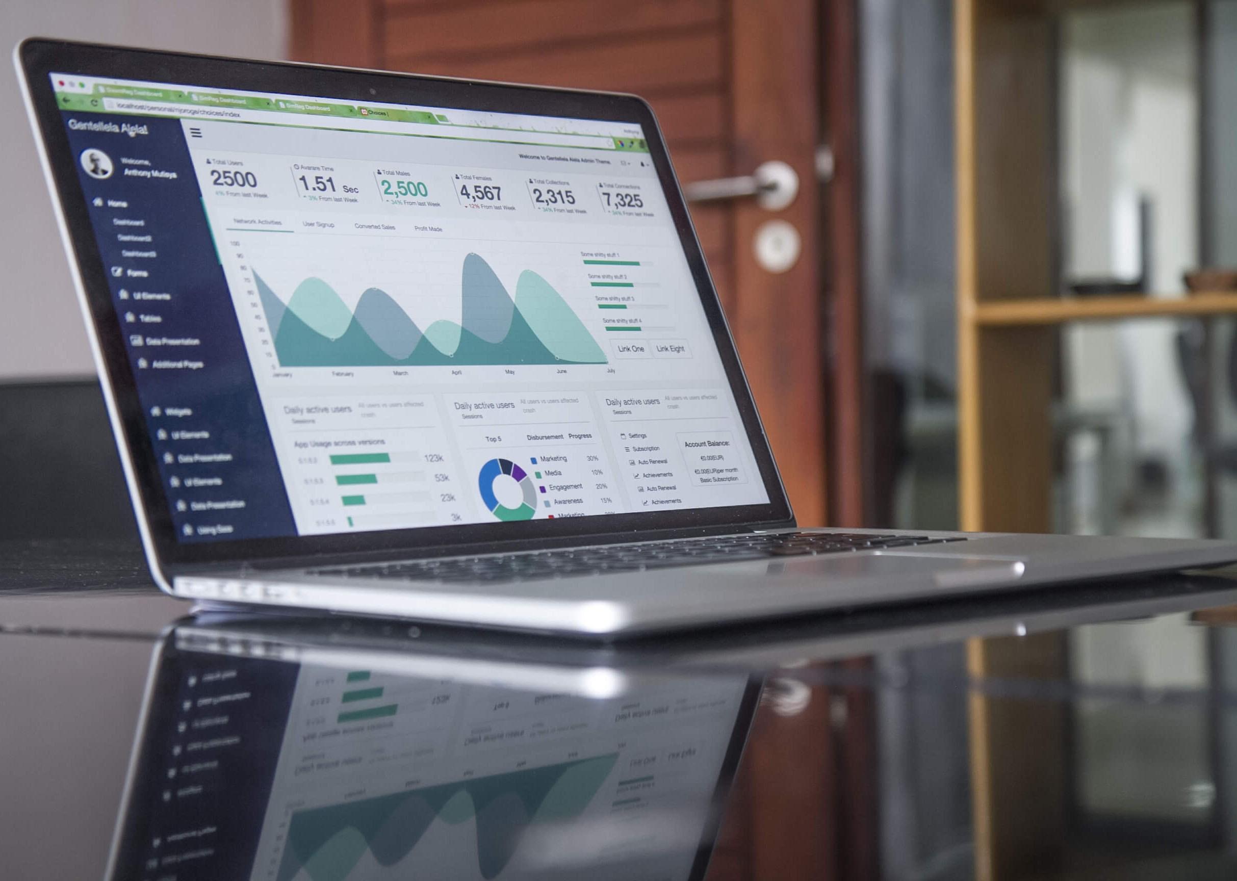 business cash flow projection laptop screen
